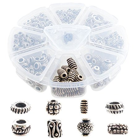 Over 650 PCs Tibetan and Bali Silver Finish Metal Spacer Beads for Jewelry Making Findings - 8 Style Unique Antique Look Bulk Bead Assortment | 2-3.9 mm Holes - Great for DIY, Bracelets, Necklaces