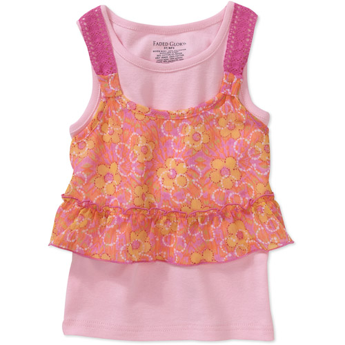 Faded Glory - Baby Girls' Crochet Accent Woven 2fer Top