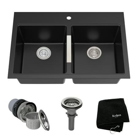 KRAUS 33 Inch Dual Mount 50/50 Double Bowl Granite Kitchen Sink w/ Topmount and Undermount Installation in Black (12 Undermount Sink)