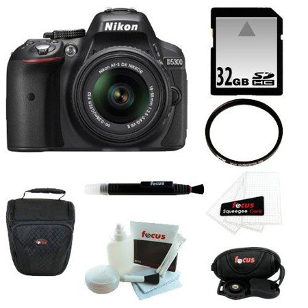 Nikon D5300 DX- format Digital SLR Kit w/ 18-55mm DX VR II Lens (Black) + Bower Automatic TTL Flash for Nikon i-TTL + 64