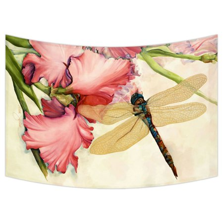 ZKGK Dragonfly Tapestry Wall Hanging Wall Decor Art for Living Room Bedroom Dorm Cotton Linen Decoration 90x60 Inches