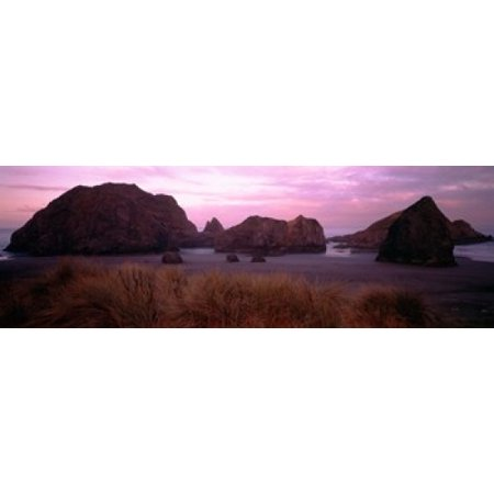 Rock Formations On The Beach Myers Creek Oregon Usa Canvas Art Panoramic Images
