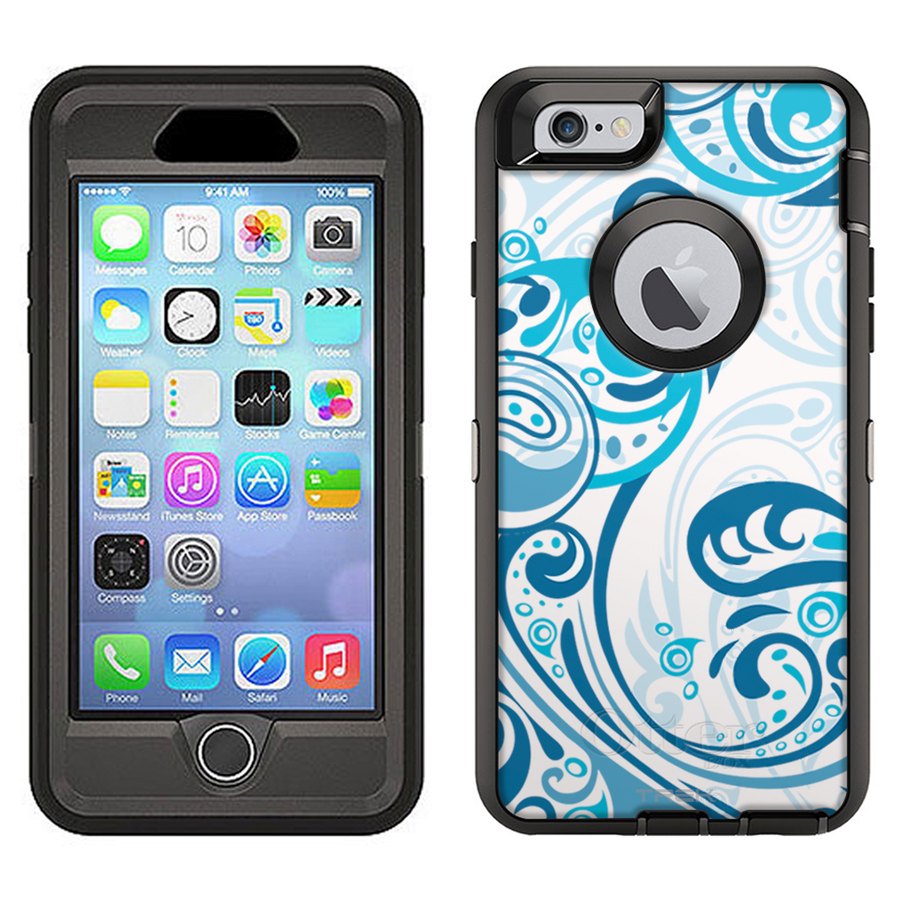 SKIN DECAL FOR Otterbox Defender Apple iPhone 6 Plus Case - Abstract Swirled Sades of Blue on White DECAL, NOT A CASE