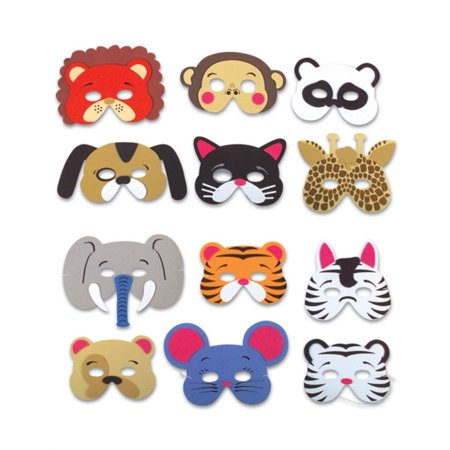 Rhode Island Novelty 12 Assorted Foam Animal Masks for Birthday Party Favors Dress-Up Costume - Party Animal Costume