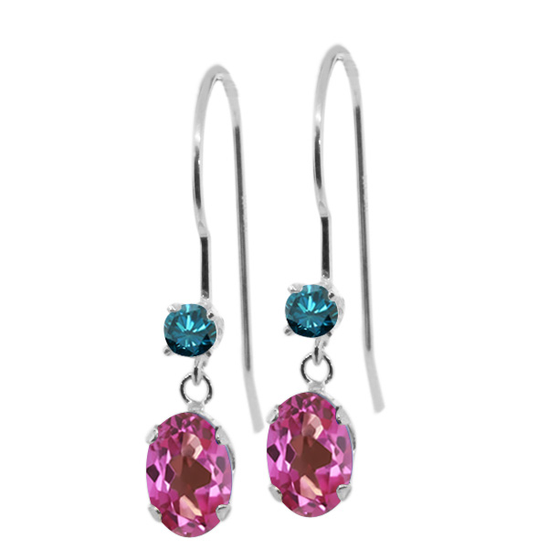 1.23 Ct Oval Pink Mystic Topaz Blue Diamond 14K White Gold Earrings