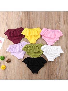 Cute Infant Baby Girl Panties Shorts Newborn Kids Puckering Diapers