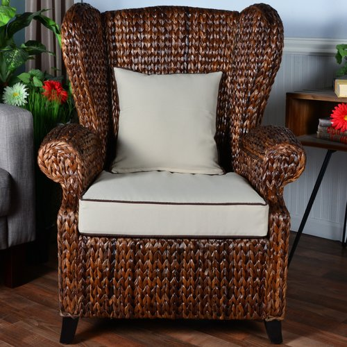 Amazing Bayou Breeze Averi Indoor/Outdoor Rattan Rolled Wingback Chair With Cushion