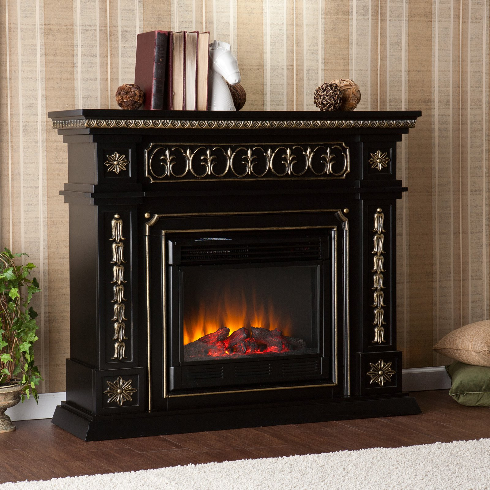 Southern Enterprises Theseus Electric Fireplace - Black