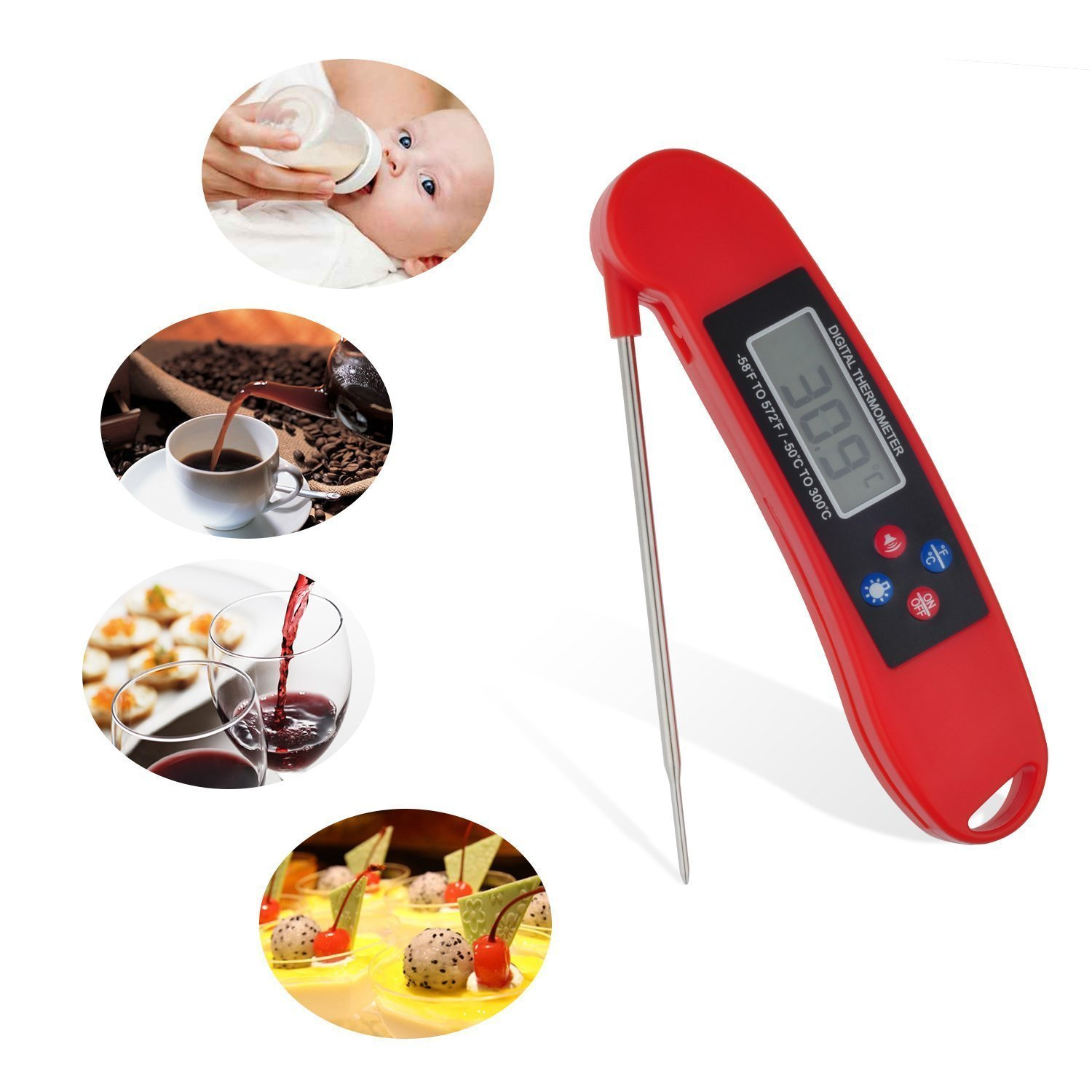 Meat Thermometer Instant Read Cooking Digital Food Probe Thermometer for Kitchen Cooking, Grill, BBQ, Milk, Candy (Red)