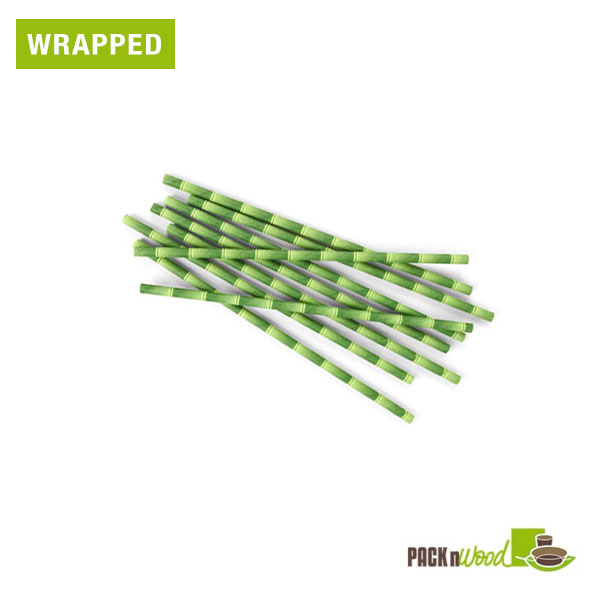 "Pack n' Wood 210CHP21BBW, 8.3""x0.2"", Bamboo Design Wax Coated Paper Straws Wrapped, 500/PK"