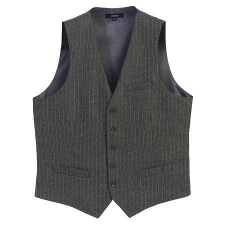 Gioberti Men's 5 Button Formal Pin Stripe (Stripe Wool Vest)