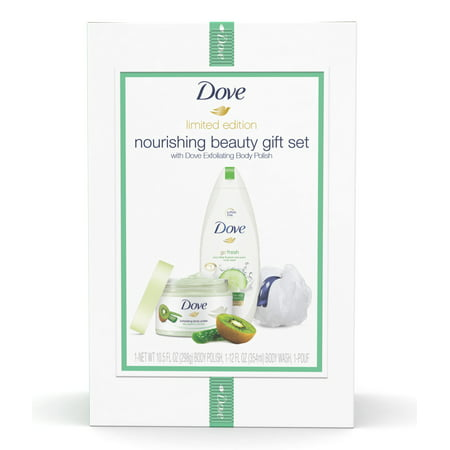 ($12 Value) Dove 3-pc Nourishing Kiwi Holiday Gift Set (Bodywash, Body Polish with Bonus Pouf)