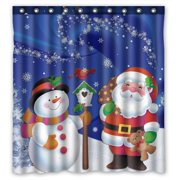 GCKG Merry Christmas Xmas Santa Claus Snowman Bathroom Shower Curtain, Shower Rings Included 100% Polyester Waterproof Shower Curtain 66x72 Inches
