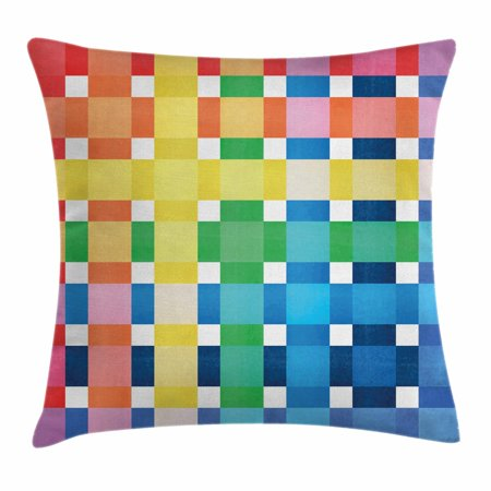 Small Throw Pillow (Checkered Throw Pillow Cushion Cover, Rainbow Colors Contiguous Big and Small Squares in Watercolor Style Geometrical, Decorative Square Accent Pillow Case, 16 X 16 Inches, Multicolor, by)