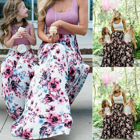 Hirigin Summer Family Matching Mother Daughter Sleeveless Boho Floral Long Dress Clothes (Family Dresses)