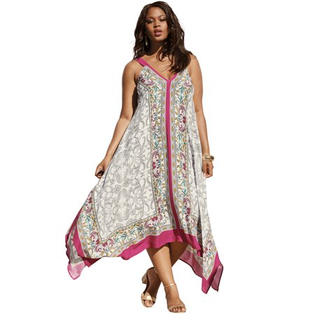Beaded Handkerchief Hem Dress (Roaman's Plus Size Scarf-print Maxi Dress With Handkerchief)