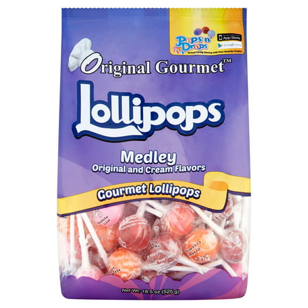 Original Gourmet Medley Original and Cream Lollipops, 18.5 Oz, 50 Ct (Hugs Lollipop)