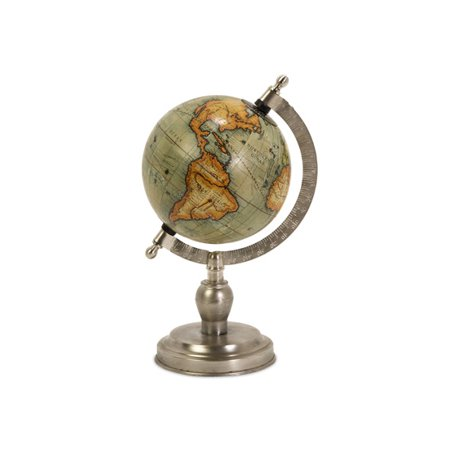 Small Nickel Finish Executive Style Desktop Globe 15