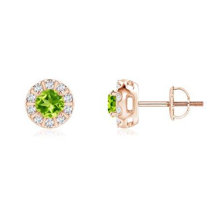 2ef04f63bb8 Women s Day Sale - Peridot Stud Earrings with Bar-Set Diamond Halo in 14K  Rose Gold (4mm Peridot) - SE0126PD-RG-AAA-4