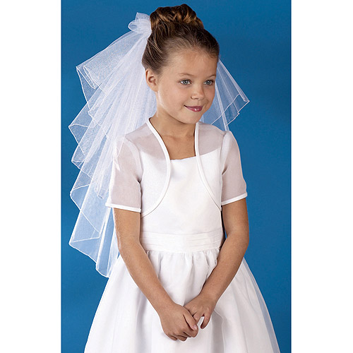 Wilton Tiered Rolled Edge Communion Youth Veil, White 120-269