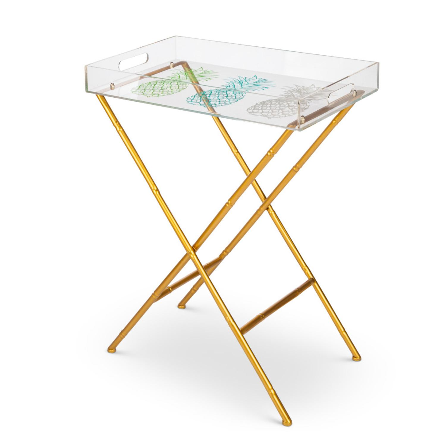 "28.6"" Clear Pineapple Top Removable Tray Table with Golden Folding Legs"