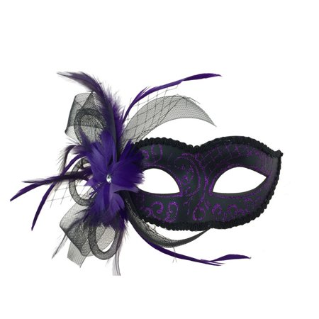 Kbw Women's feather and Veil Eye Mask, Purple