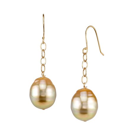14K Gold 10mm Golden South Sea Baroque Cultured Pearl Dangling Tincup Earrings