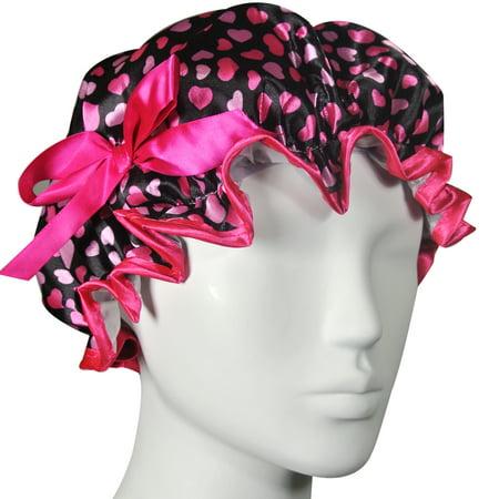 - Wrapables® Stylish Satin Shower Cap - Hearts & Rose
