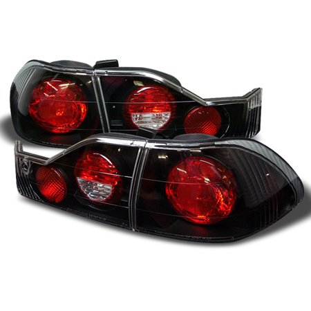 Fits 98-00 Honda Accord 4 Door Sedan Black Bezel Rear Tail Lights Brake Lamps