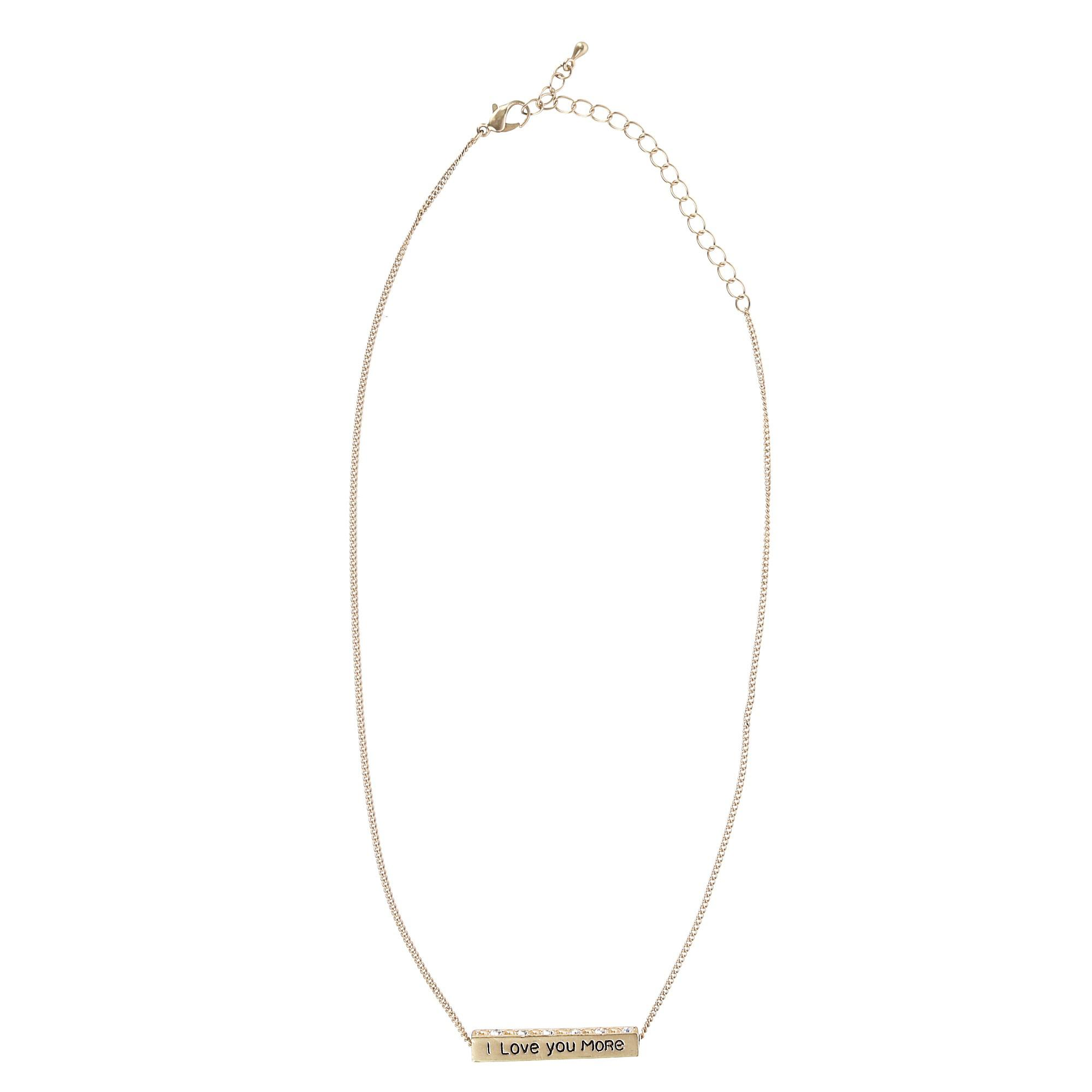 Accessorize Me I Love You More Bar Pendant Necklace with Rhinestones - image 5 of 5