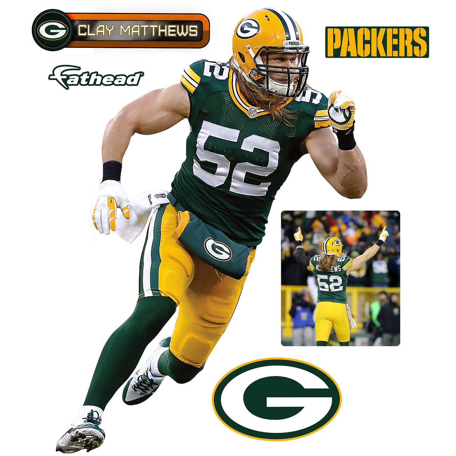 Fathead NFL Clay Matthews 2015 Teammate Player Retail 6-Pack