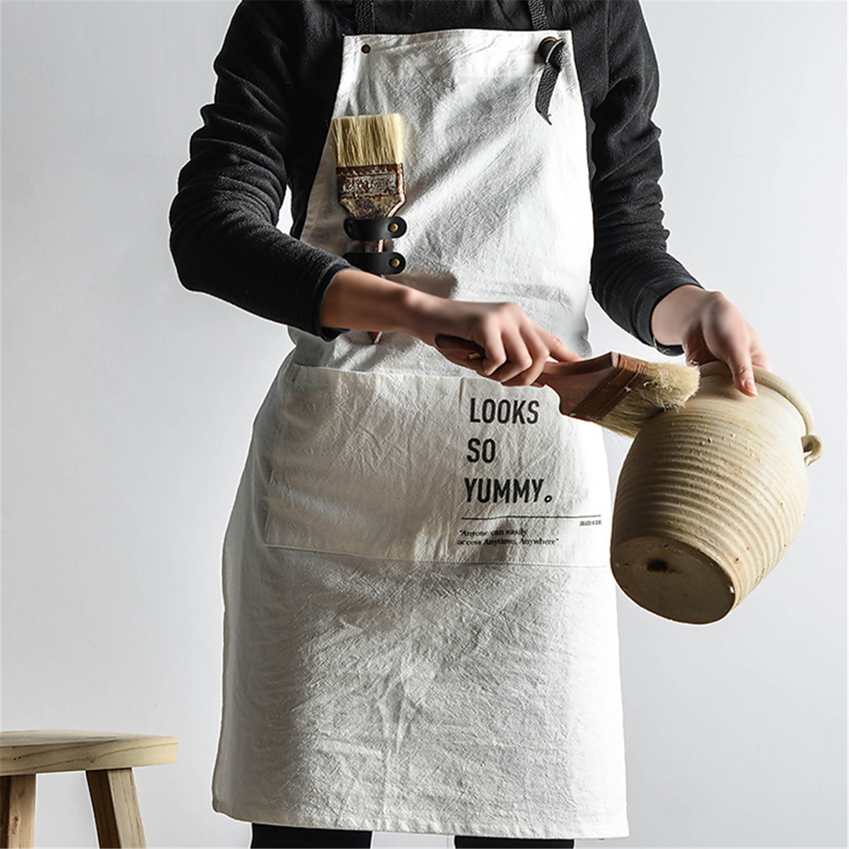 Adjustable Solid Color Apron with Pockets Cotton Cooking Kitchen Bar Apron LI