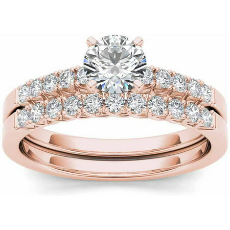 Imperial 1 Carat T W  Diamond Classic 10Kt Rose Gold Engagement Ring Set