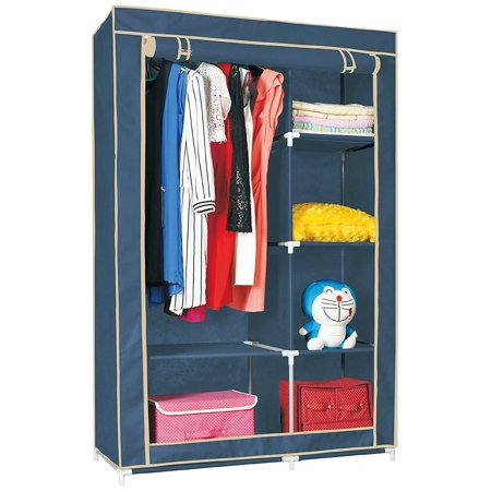 Unity-Frankford Double Wardrobe - Storage And Organization - Closet Space Maximizer - Solid Metal Construction - Roll-Up Zipper Door - Canvas - Easy Assembly - By Unity (Navy) ()