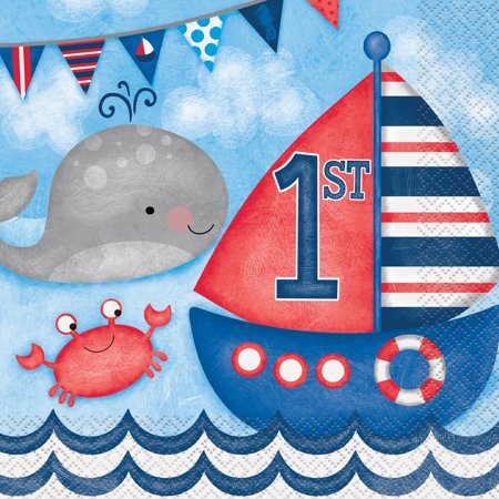 Nautical Themed Party Supplies (Nautical Boys First Birthday Party Lunch Napkins,)