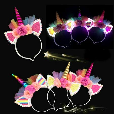 12 Light Up Unicorn Tulle Headbands Flower Flashing Ears Costume Horn Kids Magical Caticorn Recuerdos Unicornio - Diy Unicorn Horn