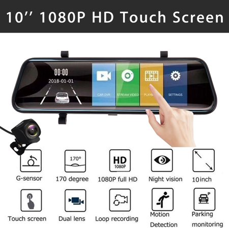 """Kadell 10"""" Dual Lens Stream Media FHD 1080P Full Screen Touch Car Rear View Mirror DVR Backup Camera Dash Cam with Night Vision, Video Recording, G-Sensor, Motion Detection"""