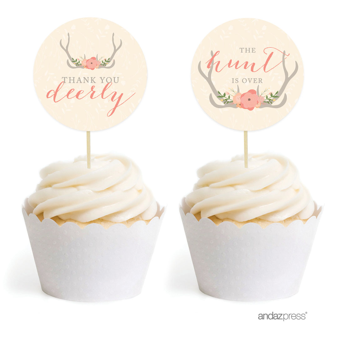 Woodland Deer Wedding Cupcake Topper DIY Party Favors Kit, 20-Pack