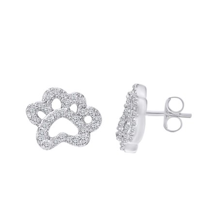 Round Shape White Cubic Zirconia Dog Paw Stud Earring In 14k White Gold Over Sterling Silver (0.38