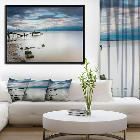 DESIGN ART Designart 'Magic Sunrise with Old Wooden Pier' Pier Seascape Framed Canvas Art Print