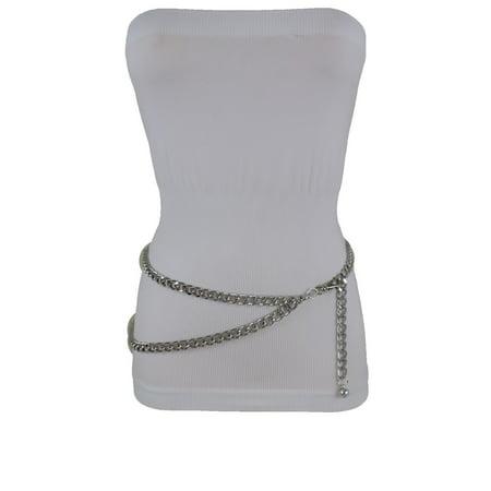 Hot Women Elegant Dressy Fashion Belt Silver Metal Chain Links Hip Waist New Accessories