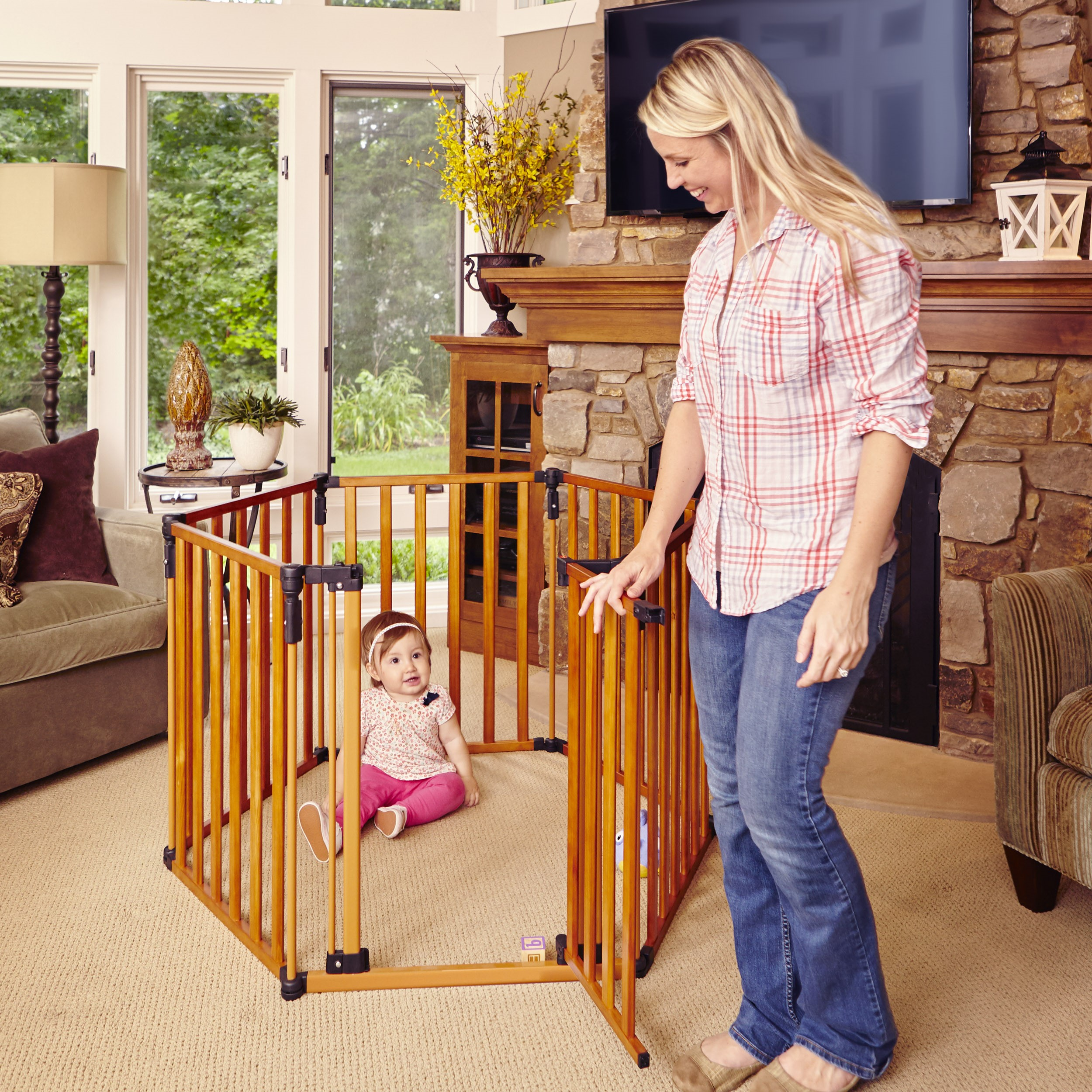 North States 3-in-1 Wooden Superyard, 12 Ft Baby Gate & Playard