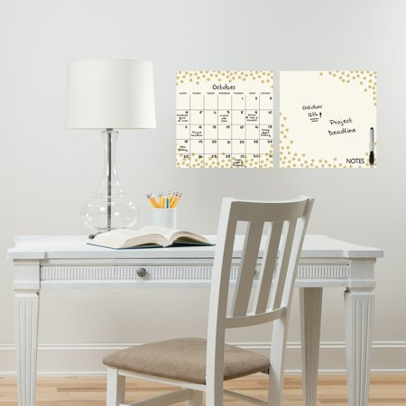 Brewster Gold Confetti Dry Erase Calendar and Message Board Set