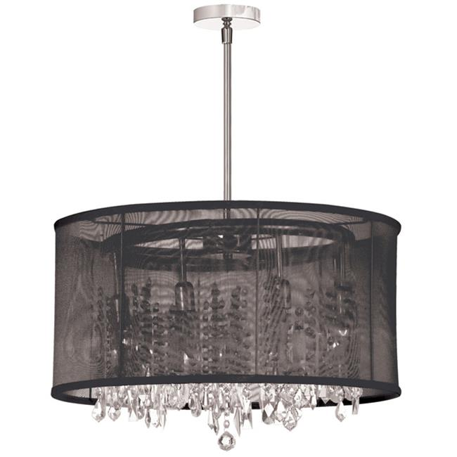Radionic Hi Tech CHA-85302-PC-115-RHT Bohemian 8 Light Crystal Chandelier With Black Organza Drum Shade