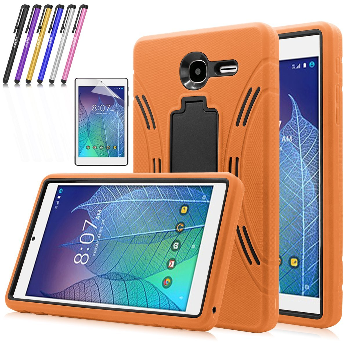 Mignova Heavy Duty rugged impact Hybrid Case with Build In Kickstand Protective Case For Alcatel Onetouch POP 7 LTE (T-Mobile 2016 Model 9015W) + Screen Protector Film and stylus pen (Black)