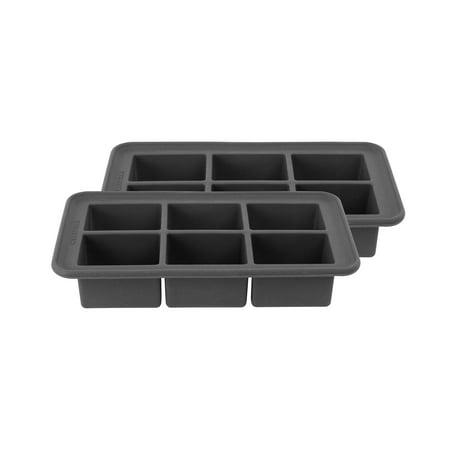 Black White Ice Cube - Casabella Big Cube Ice Trays, Set/2, Dark Grey