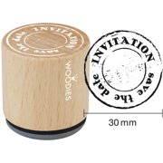 """Woodies Mounted Rubber Stamp 1.35""""-Invitation Save The Date"""