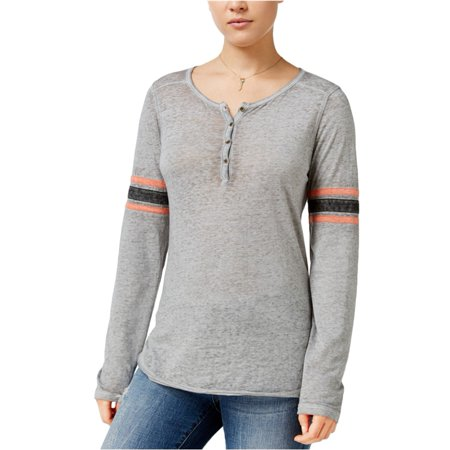 Hippie Rose Womens Contrasting Football Henley Shirt - Teen Hippie