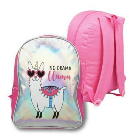 DDI 2328492 No Drama Llama Holographic Foil Backpack, Pink & Holographic - Case of