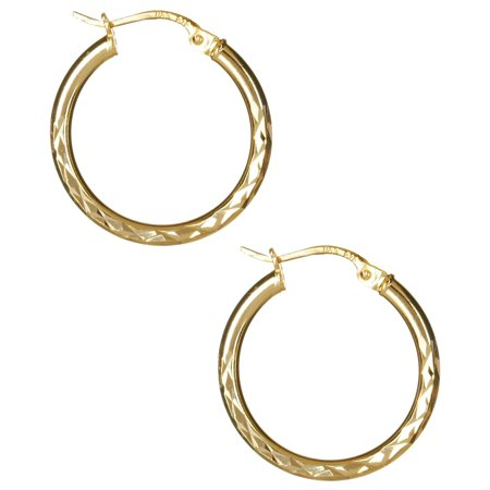 Signature Diamond Cut Hoop Earrings One Size Signature Deco Diamond